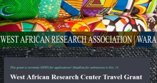 West African Research Centre Travel Grant Fellowship Program for African Scholars & Graduates [$1,500] - Wirkish