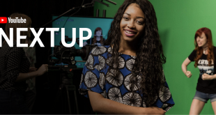 Picture of African lady smiling: YouTube NextUp Logo beside her